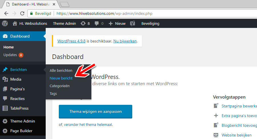 HL Websolutions wordpress dashboard 4