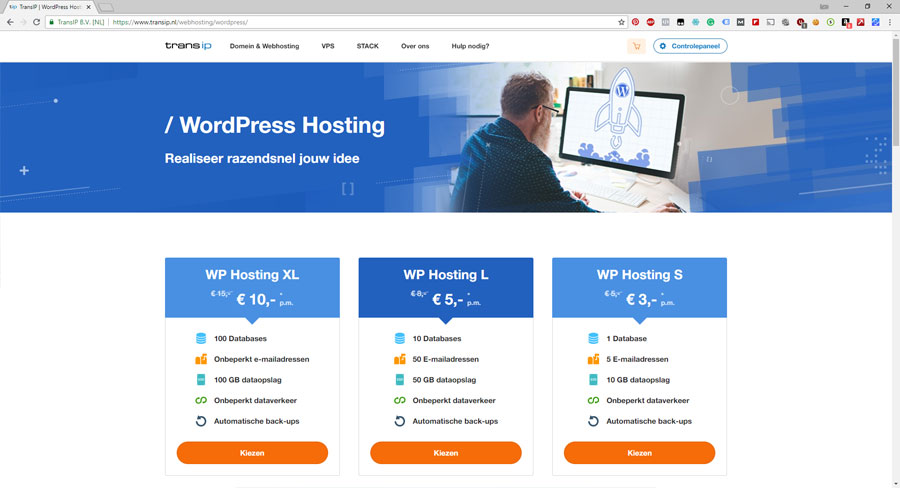 transip wordpress hosting pakket